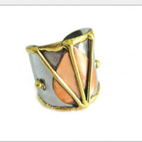 Leaf and Lines Tri Color Cuff Ring
