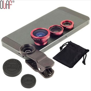 Lens Camera kit for iPhone 4 5 6 Samsung S4 S5 LG Universal 3 In 1 Clip-on