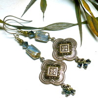 Blue Kyanite Vintaj Brass Swarovski Crystal Tribal Dangle Earrings