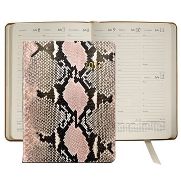 2017 Desk Diary  Pink Embossed Python