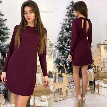 Women Back Bow Tie Casual Dress Vintage Long Sleeve O-neck Straight Solid Dress 2018 Spring Summer Workwear Sexy Mini Dresses