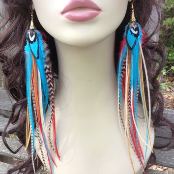Unique Long Feather Earrings - Ginger and Spice Feather Jewelry Turquoise Blue, Red, Ginger, Grizzly Long Feather Earings
