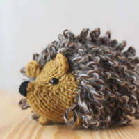 Little knitted hedgehog in honey and tweed, stuffed wool toy