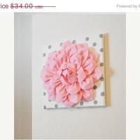 "MOTHERS DAY SALE Wall Flower -Light Pink Dahlia on White with Gray Polka Dot 12 x12"" Canvas Wall Art- Baby Nursery Wall Decor-"