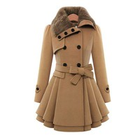 Double - Breasted Thicker Coat Windbreaker Winter Dress