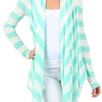 Women's Mint or Coral Striped Long Sleeve Cardigan Cover Up