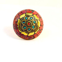 Victorian ring, brass rings,  Tribal ring, gypsy ring,  beautiful ring, indian ring,  coral stone ring