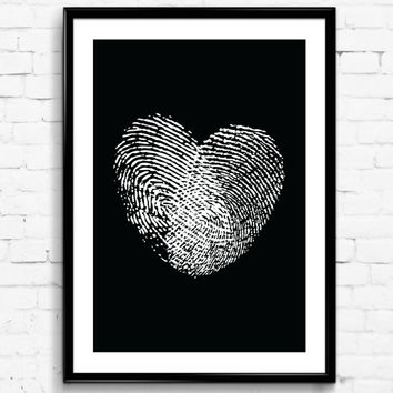 Two Fingerprints Heart Black & White Wall Print, Digital Download Decor, Digital Art, Printable Wall Poster