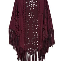Burgundy Suedette Laser Cut Fringed Cape