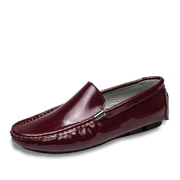 Patent Leather Men Casual Shoe Slip On Leisure Men Driving Loafers Big Size Men Office Flats