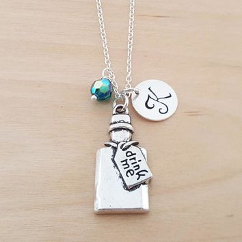 Drink Me Charm - Alice in Wonderland - Birthstone Necklace - Personalized Gift - Initial Necklace - Sterling Silver Jewelry - Gift for Her