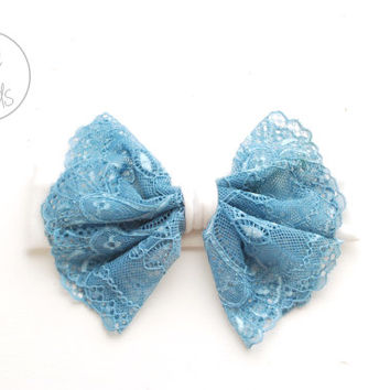 Baby Bow Headband, BLUE Lace Bow Headband, White Toddler Headband, Shabby Chic Bow Headband