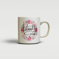 Inspirational quote mug, Actually I can, Floral watercolor wreath tea cup, Hand written script font, Unique gift For Her (1617)