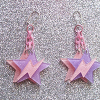 Space Pop - Jem Inspired Glitter Star and Lightning Earrings