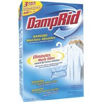 DampRid FG83K Hanging Moisture Absorber Fresh Scent, 1 Box of 3 14oz bags
