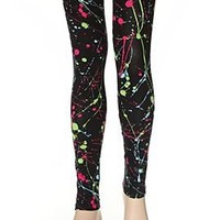 Black Neon Splatter Leggings - 713186