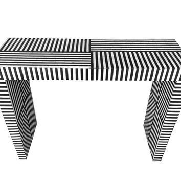 Bone Inlay Striped Pattern Console Table