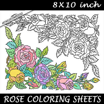 Rose Adult Coloring Page - Roses Color Sheet - Printable Digital Coloring Book - 8x10 inch Floral Clip Art Flowers - Perfect for Framing