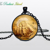 PIRATE MAP PENDANT pirate map jewelry pirate map necklace Gifts for Him  Jewelry  Fantasy Pendant Art Gifts for Her nautical jewelry pendan