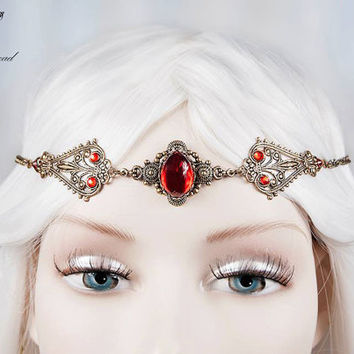 Ruby gem elven circlet-fairy circlet-elf circlet-elf headdress-elven circlet-elven headpiece-gothic circlet-elven headdress
