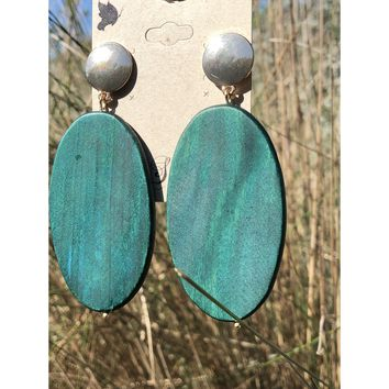 Large painted wood statement earring