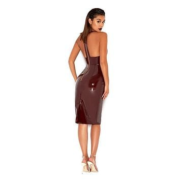 Vampire Burgundy Latex Pencil Dress