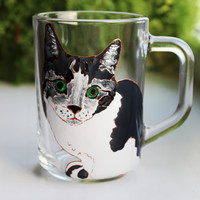 Hand Painted Glass Cup, Cat Mug, Coffee Mug, Coffee Cup, Painted Mug, Tea Mug, Glass Mug, Xmas Gift, Painted Coffee Mug, Late Mug Animal Mug