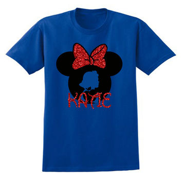 Princess Snow White Minnie Mouse GLITTER colors Personalized T-shirt with Name - Birthday shirt, Party shirt, Disney trip Dwarves