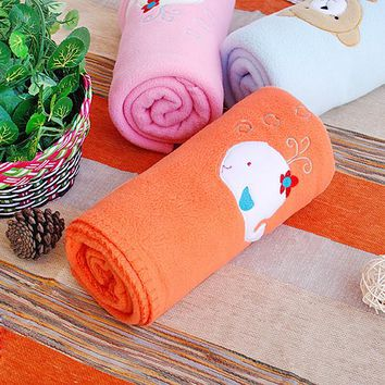 [White Whale - Orange] Embroidered Applique Coral Fleece Baby Throw Blanket