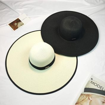 HT1129 New Summer Floppy Straw Hats Foldable Beach Hats for Women Female Sunbonnet Ladies Vacation Large Wide Brimmed Sun Hats