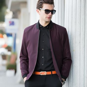 Youth Casual Zipper Fly Mens Jackets And Coats Fashion Brand Pure Color Long Sleeve Loose Bomber Jacket Men Overcoat