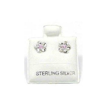 SILVER 925 SHINY HAWAIIAN PLUMERIA EARRINGS PINK CZ 8MM