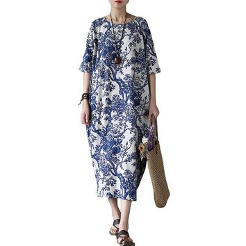 Johnature 2018 New Summer Cotton Linen Vintage Flower Pint Women Fall Robe Half Sleeve O-neck Washed Plus Size Loose Dresses