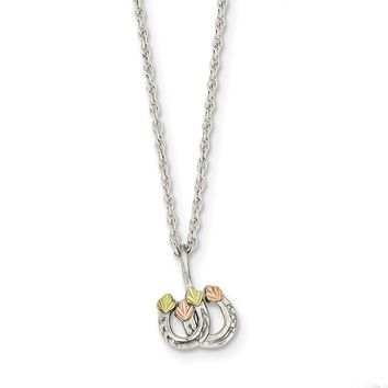 Sterling Silver & 12K Leaves Double Horseshoe Necklace
