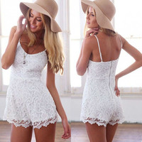 Women's White Lace Sleeveless Jumpsuits