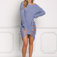 Dusty Blue Frayed Thick Sweater Top