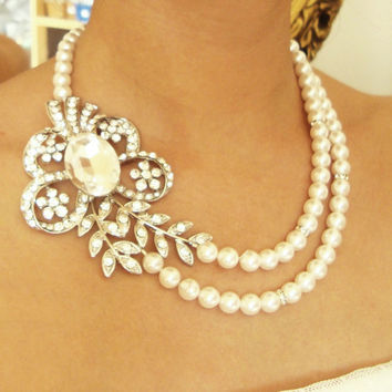 Pearl Bridal Necklace, Vintage Bridal Wedding Jewelry, Rhinestone Flower and Leaves Necklace, Statement Bridal Jewlery, Eve Collection