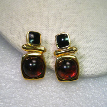 VIntage Joan Rivers Black Stud & Amber Hinged Dangle Clip Earrings, Gold Tone, 1990's, 1.25""