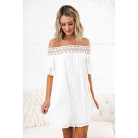 Keep Up Embroidered Dress (Ivory)