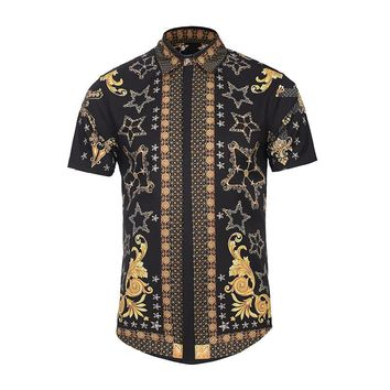 Pentagramz Short Sleeve Button Up Shirt