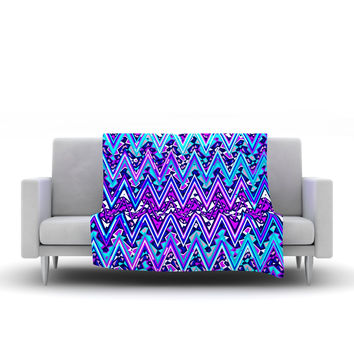 "Nika Martinez ""Blue Electric Chevron"" Fleece Throw Blanket"