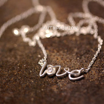 Sterling Silver Love Pendant Necklace Women's Classic Jewelry