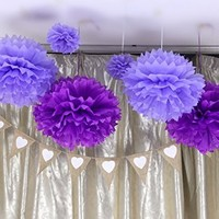 Fonder Mols 6pcs 8'' and 14'' Mixed Size Light Purple and Purple Tissue Pom Poms Paper Flower Wedding Bridal Shower Party Fluffy Decoration
