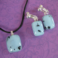 Blue Necklace Earring Set, Dangle Clip On Earring, Fused Glass Jewelry, Blue Jewelry Set - Hughes - 4287 -1