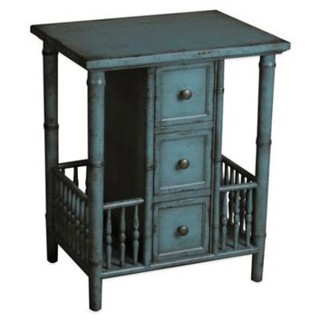 Pulaski Casto Faux Bamboo 3-Drawer Side Accent Table in Blue