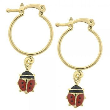 Gold Layered 02.32.0320 Small Hoop, Ladybug Design, Multicolor Enamel Finish, Gold Tone