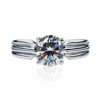 Brightness Male Ring 1.5Ct 7.5mm G-H Moissanite Men Ring White Gold Color Solid 925 Sterling Silver Wedding Ring