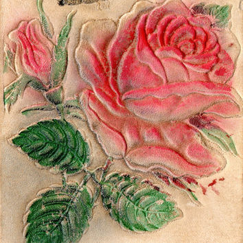 Vintage Pink Rose Postcard, Used Leather Post Card Early 1900s Collector Item, Rare Hand Dyed Embossed Garden Rose & Butterfly Deer Hide