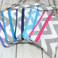 Wristlet Wallet, Custom Phone Wristlet, Clutch for Phone, Cell Phone Wallet, Chevron Clutch, Clutch Wristlet, Zippered Clutch