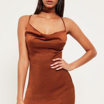 Missguided - Bronze Silky Cowl Neck Harness Bodycon Dress